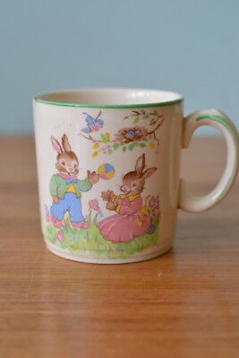 Vintage mug Alfred Meakin bunny ware coffee teacup fine china rabbit childs 3195