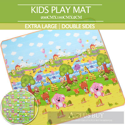 2x1.8m/3x1.8m Large Baby Play Mat Double Sided Animal Alphabet Number 20mm Thick