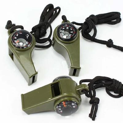 1Pc 3 in 1 Outdoor Camping Emergency Survival Gear Whistle Compass Thermometer