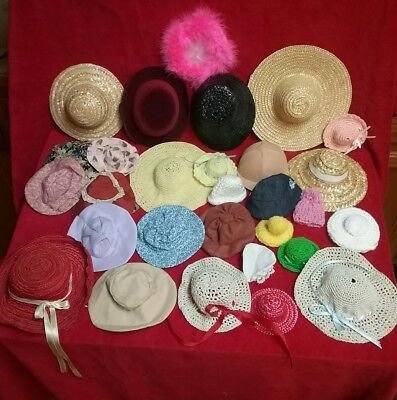"""Vintage doll hat lot 8"""" to 22"""" adult collector pet and smoke free home"""