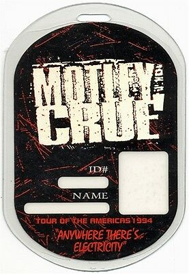 Motley Crue authentic 1994 Laminated Backstage Pass Anywhere Electricity Tour