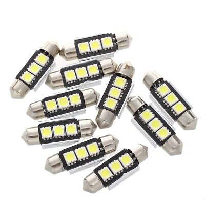 10 x 36MM Birnen Lampe 3 LED 5050 SMD CANBUS weisse Auto Haube L7J3