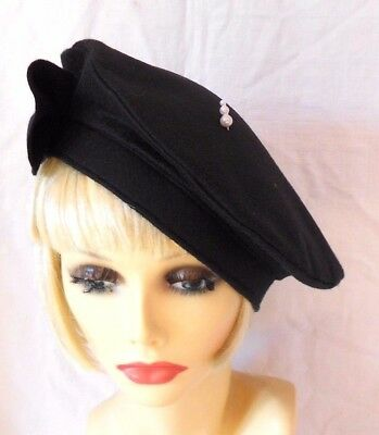 VINTAGE INSPIRED 1940's 1950's STYLE BLACK WOOL FELT BERET HALO HAT  LARGE - XL