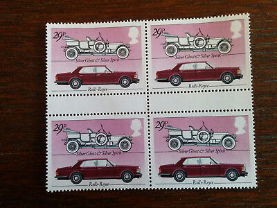 GB mint and unmounted block of 4 Rolls Royce Silver Ghost & Silver Spirit (1982)