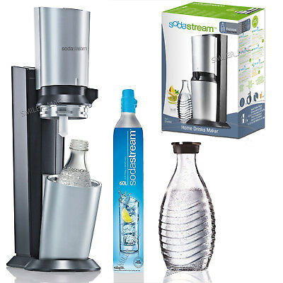 SodaStream Crystal Home Drinks Maker Silver - 1x Glass Carafe + 60L Gas Canister