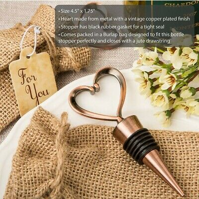 40 Antique Copper Plated Finish Vintage Heart Metal Stopper Wedding Gift Favors