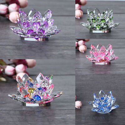 Tabletop Crystal Buddhist Lotus Flower Tea Light Candlestick Candle Holder