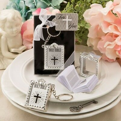 25 Silver Holy Bible Perfect Baptism, Christening, Communion Gift Favors