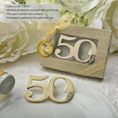 50 Gold Bottle Opener 50Th Anniversary & 50th Birthday Party Gift Favors