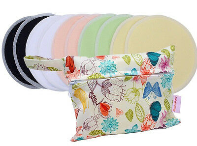 Set of 10 (5 Pairs) Reusable Bamboo Breast Pads with Wet Bag and Mesh Wash Bag