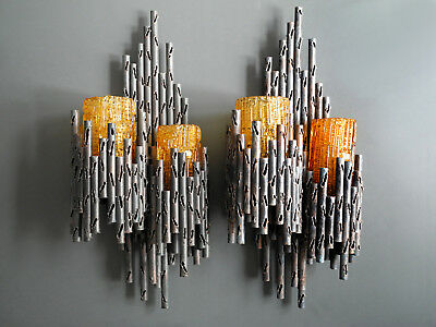 Pair 60s Marcello Fantoni sculptural brutalist iron wall lamps with orange glass