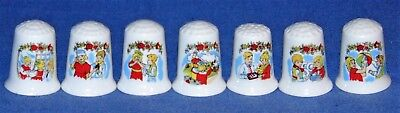 "Bone China Thimbles ""days Of The Week"" Great Condition"