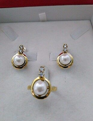 925 Sterling Silver Handcraft Turkish Jewelry White Pearl Earring & Ring Set