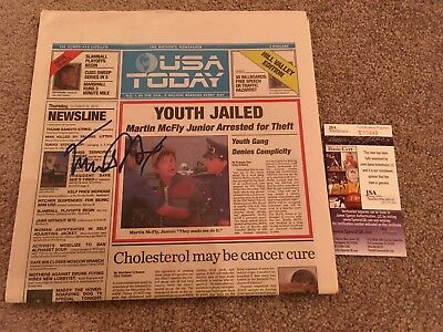Michael J Fox Signed Bttf Newspaper Jsa Proof Autograph Back To The Future Usa