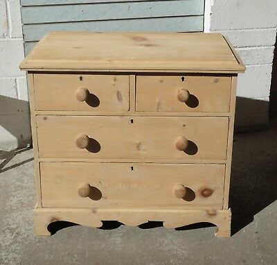 Antique Victorian Stripped Pine Country Rustic Farmhouse Chest Of Drawers