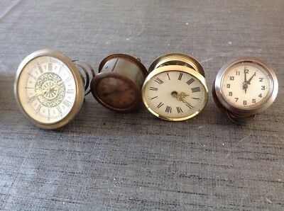 4 X Antique Clock Movements Untested For Repair Or Spare Parts