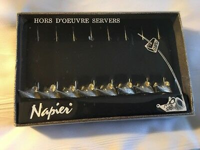 Vintage 8 Ct Napier Hors D'oeuvres Mice Cocktail Cheese Servers In Box Barware