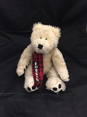 Authentic Fossil Red Black Scarf Plush Teddy Bear Toy