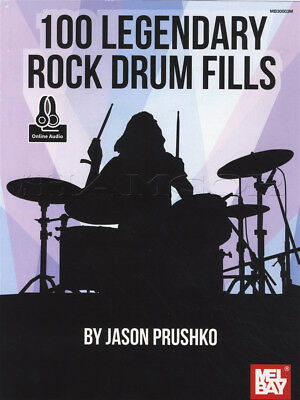 100 Rock Drum Fills Sheet Music Book with Audio Learn How To Play