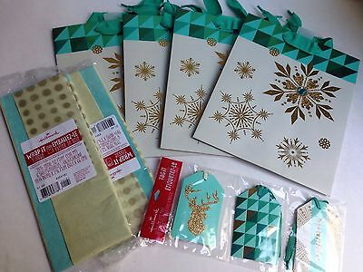 Lot of Christmas Holiday (4) Gift Bags, (2)Tissue Paper, Tags - Turquoise/Gold