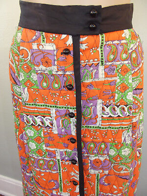 "Vtg~1960s~MOD Orange Psychedelic Print, Quilted Maxi Skirt~26"" Waist"