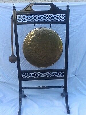 "Fab Antique Victorian Edwardian Chinoiserie Floor Standing 15"" Brass Dinner Gong"