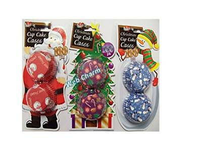 3 packs of 100 Christmas cup cake cases - Santa, Snowman and Xmas Tree- WebCharm