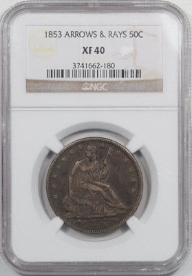 1853 Liberty Seated Half Dollar - Arrows & Rays Ngc Xf-40. From The Reeded Edge!