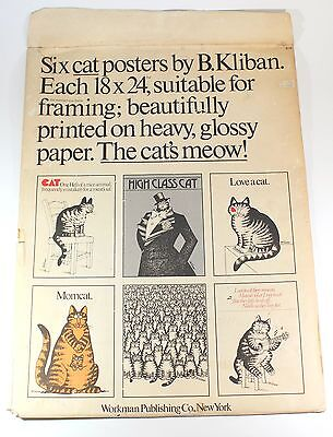 B Kliban 5 Cat Posters 18x24 Set Lot W Envelope Vintage 1970s Art Print 1977 !!!