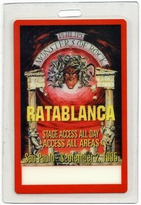 Monsters of Rock 1995 Laminated Backstage Pass Ratablanca Megadeth Alice Cooper
