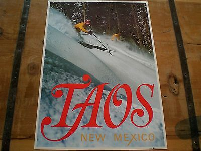 Vintage SKI Poster for *TAOS* SKI Area ~ Deep POWDER SKIING!