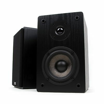 Micca MB42 Bookshelf Speakers with 4-Inch Carbon Fiber Woofer and Silk Dome T...