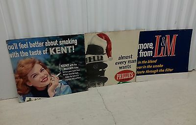 3 Vintage Cigarette Tobacco Store Display Posters Signs Kent L&M Phillies Cigars