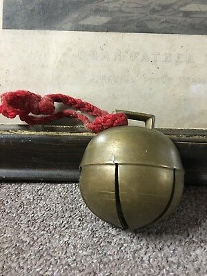 """Antique Brass Bell Jingle Bell Sleigh Bell Big 3 1/4"""" Holiday Great Patina"""