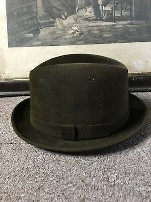 "Vintage Crofut & Knapp Dark Brown Felt Fedora Hat ""The Gentleman's Hat"" 7 1/4"""