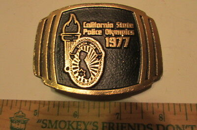 Vintage Brass Belt Buckle 1977 California State Police Olympics