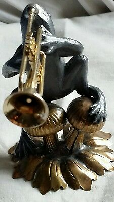 Figurine Frog Playing musical instrumentTrumpet Pewter & Brass Petites Choses