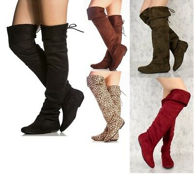 FAUX SUEDE OVER THE KNEE FLAT FOLD OVER BOOTS #Tammy58