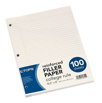 """Brand New Tops Reinforced Filler Paper, College Rule, 10-1/2 x 8"""", 100 Sheets"""