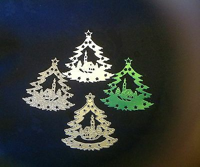 CHRISTMAS Tree/Village Church Scene Metal cutting Die ~ Please read description