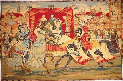 """New 56"""" Medieval Lists/Tournament Fully Lined Tapestry Wall Hanging + Rod Sleeve"""