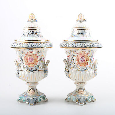 Pair of Capodimonte Porcelain Garniture Urns w/ Figural Handles marked numbered