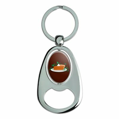 Pumpkin Pie Chrome Plated Metal Spinning Oval Design Bottle Opener Keychain