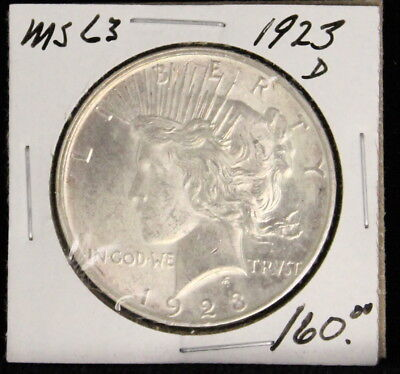 1923 D Choice Plus Brilliant White Uncirculated Peace Silver Dollar