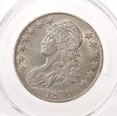 1830 Capped Bust 50C PCGS Certified Genuine AU Details Cleaned Small 0 Silver