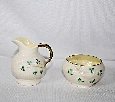 "Beautiful Belleek ""Shamrock"" Sugar Bowl & Creamer W/ Green 5th Mark 1955-1965"