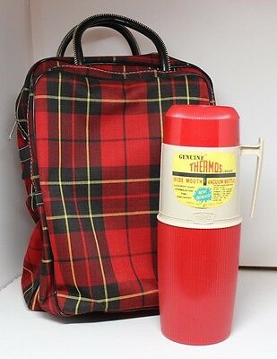 Vintage Red Plaid Picnic Tote Organizer With 1 Qt Thermos Model 6402 Sh Seba