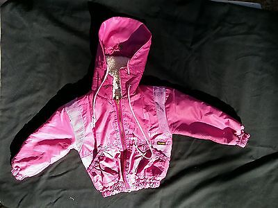 Vintage girl jacket coat hood shearling pink lined 1970s sz 2 to 3 toddler USA