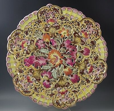 """1940's ITALY CERAMIC FLORAL PIERCED PLATTER -  PINK AND YELLOW 14"""" HAND PAINTED"""