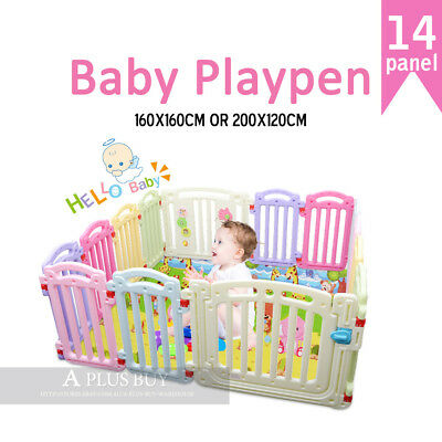 1.6mx1.6m New Kids Baby Toddler Safety Gate Colourful Playpen Square 14 panel